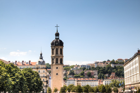 Cathedral on Antonin Poncet Plaza in the center of Lyon, France
