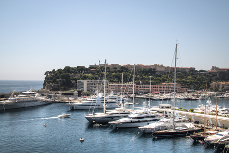 carlo: Yachts in the harbour of Monte Carlo in Monaco Editorial