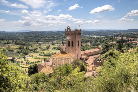 View over the impressive landscape in Tuscany with the cathedral of San Miniato in Italy