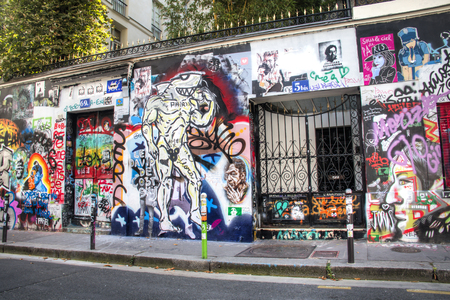 rue: PARIS, FRANCE - SEPTEMBER 2016: The former house of musician Serge Gainsbourg at the rue Verneuil 5bis in Paris, France