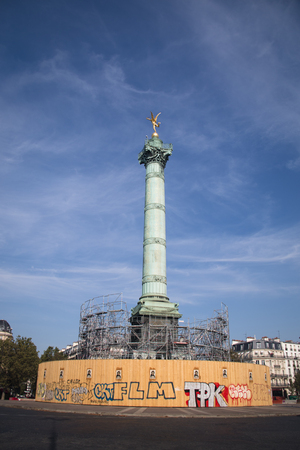 Statue on the Colonne De Juillet roundabout Bastille in Paris in France