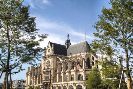 Saint Eustache church near the Jardin Nelson Mandela and Les Halles in Paris, France