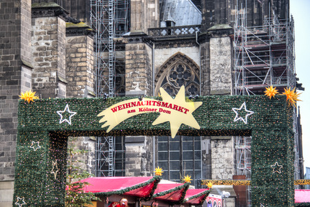 COLOGNE, GERMANY - DECEMBER 2016: The Christmas market in Cologne is the biggest in Germany and attracts millions of visitors Editorial