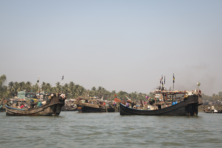 The harbor for boats in Coxs Bazar in Bangladesh
