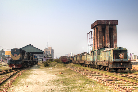 Railroad tracks with trains in the station Khulna in Bangladesh Editorial