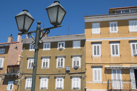 adriatico: Typical facades of the old houses in Cres village on Cres island in Croatia Stock Photo