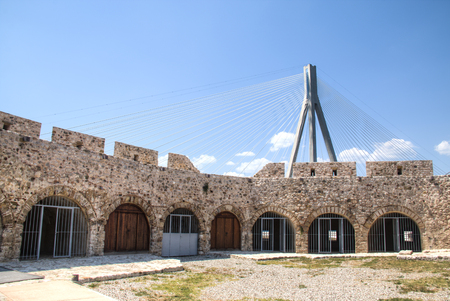 Inside the fortress near the sea in Rion in Greece