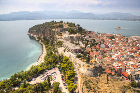 Magnificent view over the old center of Nafplio in Greece taken from Palamidi castle with the sea in the background