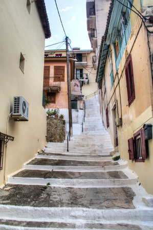 A typical street with historical buildings in the ancient town Nafplio in Greece
