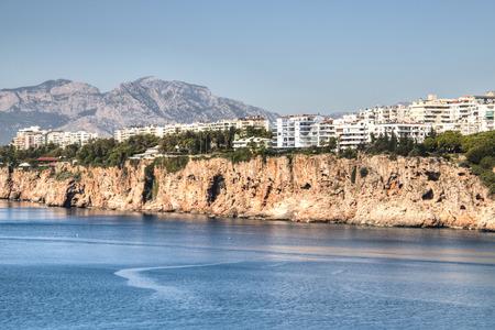 Resorts on the rocks of the coastline of Antalya in Turkey