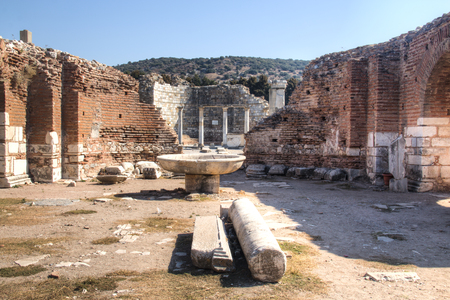 The ruins of the ancient Greek city Ephesus near the town of Selcuk in Turkey Stock Photo