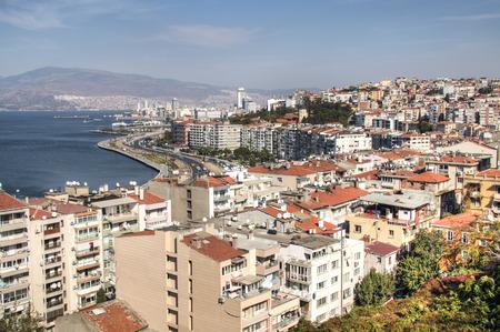 View over the coastal city Izmir in Turkey