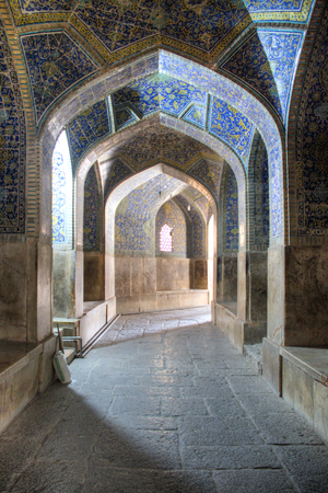 Beautiful decoration inside the Shah mosque or Imam (Emam) mosque on Naqsh-Jahan square in the centre of Isfahan in Iran Editorial
