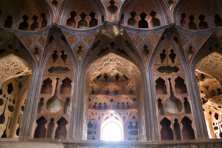 Inside the Ali Qapu palace on the famous Naqsh-e Jahan square in the centre of Isfahan in Iran