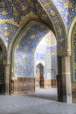 Beautiful decoration inside the Shah mosque or Imam (Emam) mosque on Naqsh-Jahan square in the centre of Isfahan in Iran Stock Photo