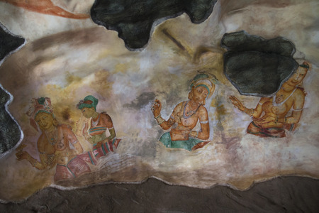 The famous frescos of the Sigiriya maiden were painted in the 5th century on the side of Lion's rock in Sigiriya in Sri Lanka