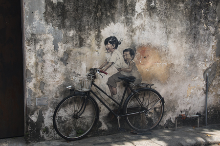 GEORGETOWN, SRI LANKA - DECEMBER 2017: Street art and graffiti in the streets of the old center of Georgetown in Penang, Malaysia Editöryel