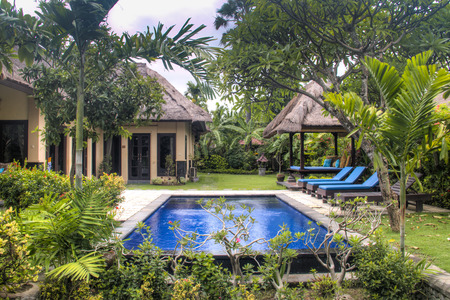 Fancy hotel room with private swimming pool in Pemuteran in Bali, Indonesia