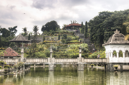 TAMAN UJUNG, BALI - JANUARY 2018: Taman Ujung is one of the famous water palaces in eastern Bali, the most touristic island of Indonesia