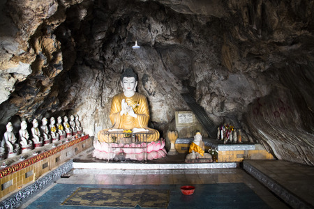Buddha statues in the Bayin Nyi cave in Hpa-An in Myanmar