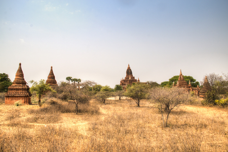 Early morning view over the temples of Bagan, a historical site in Myanmar