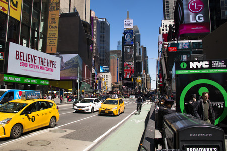 NEW YORK CITY, USA – APRIL 2018: Traffic and billboards on Times Square in Manhattan, New York City, USA Editorial