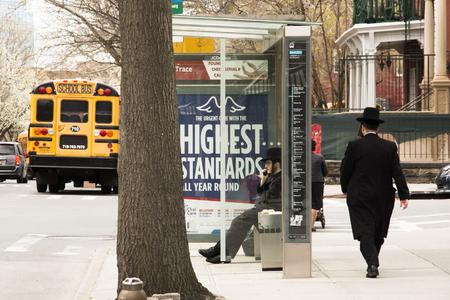 NEW YORK CITY, USA – APRIL 2018: The Jewish neighborhood in Brooklyn, New York City, USA