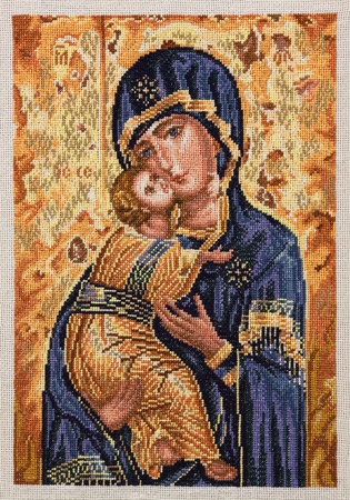 son of god: Embroidered icon Virgin Mary Vladymyrs with child Jesus Christ. Cross-stiched icon