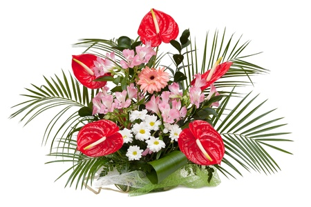 Alstroemeria Saturne, Red Anthurium, White Chrysanthemum, Gerbera. Bouquet isolated on white.