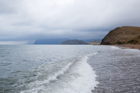 Beautiful view on the calm sea before the storm. View over Black Sea, Crimea, Ukraine photo