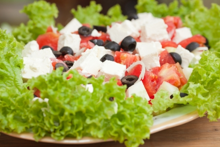 Fresh greek salad  Close up photo