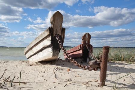 ashore: Abandoned fishing boats on the beach