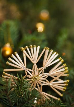 Straw star on Christmas tree  Postcard photo