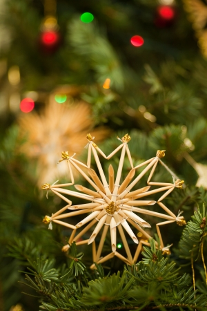 Straw star on Christmas tree  Postcard photo