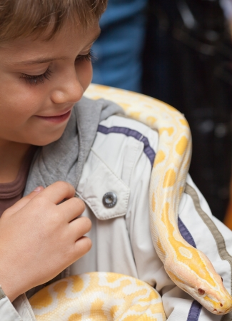 Close-up of smiling boy holding albino python on her shoulders Фото со стока