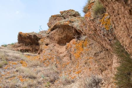 burrows: Mountain scenery with burrows of animals. Crimea, Ukraine