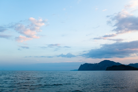 Beautiful view of the Black sea coast   Karadag, Crimea, Ukraine  Evening light photo