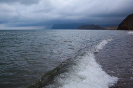Beautiful view on the calm sea before the storm  View over Black Sea, Crimea, Ukraine photo