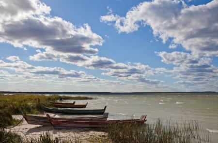 skiff: Fishing boats on the beach Stock Photo
