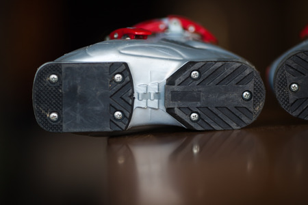 outsole: Children ski boots, gray and red, bottom
