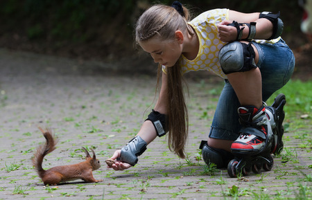 roller blade: Cute little girl with roller blade feeding squirrel at park