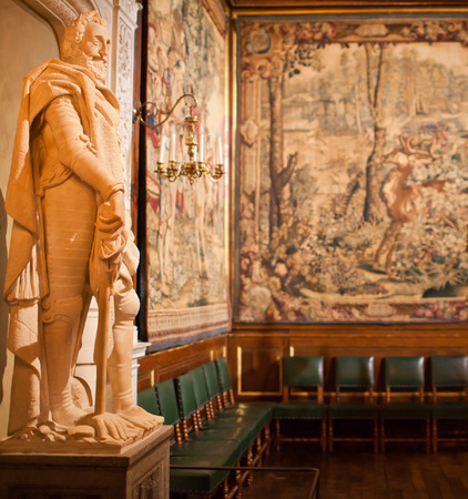 Room inside the palace of Henry IV  decorated tapestries at Pau (Kingdom of Navarre) Stock Photo - 28472867
