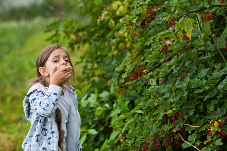 Little girl eats red currant in the garden