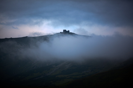 Pip Ivan mountain before dawn  (observatory ruins on Chornogora ridge, Ukraine) photo