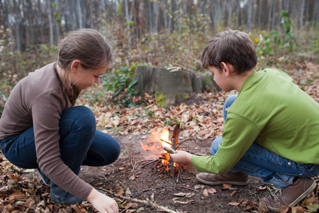 two girls: Brother and sister have fun in the woods