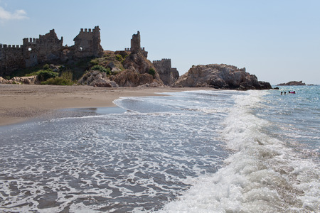 plage: Medieval castle and plage in the Anamur, Turkey Stock Photo
