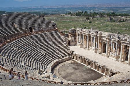DENIZLI, TURKEY - JUNE 12: Ruins of the ancient Phrygian city of Hierapolis, Pamukkale town on June 12, 2015 in Denizli, Turkey