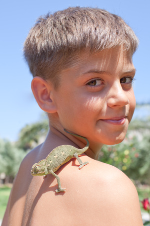 Little boy with green chameleon on his shoulder photo
