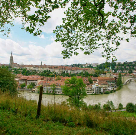 beautiful landscape scenic view of the old town in bern, switzerland 스톡 콘텐츠