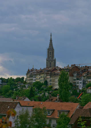 beautiful landscape scenic view of the old town city center in bern, switzerland